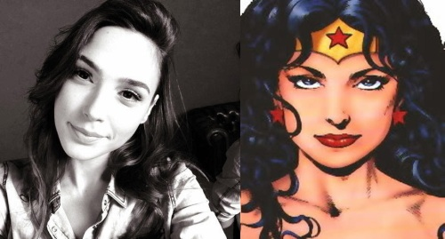 Gal Gadot and her alter ego Wonder Woman in a side by side comparison